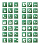 Broke Bad Social Media Icons. 42 Social media icons in green gradients royalty free stock images