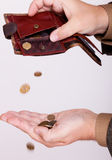 Broke businessman with empty purse and polish coins Stock Photography