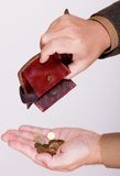 Broke businessman with empty wallet and polish coins Stock Image