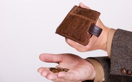 Broke businessman with empty wallet and polish coins Royalty Free Stock Photography