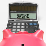 Broke Calculator Shows Credit Trouble And Debt Royalty Free Stock Image