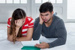Broke caucasian couple with financial problems Royalty Free Stock Photo