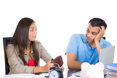 Broke couple. Closeup portrait of attractive men and women showing empty wallet to her husband, being broke and poor, isolated on white background. FInancial Stock Photo