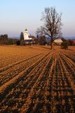 Broke field and netin village in bohemian. Evening view - broke field and netin village in bohemian and moravian highland czech republic Royalty Free Stock Photos