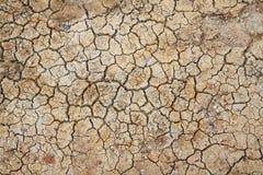 Broke knäckte jord för texturerad bakgrund Arkivfoto