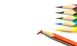 Broke Sharp colorful wooden pen Royalty Free Stock Photos
