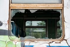 Broke Shattered glass window train Stock Photography