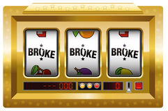 Broke Slot Machine Gold Royalty Free Stock Photo