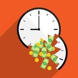 Broke time waste money illustration Stock Photography