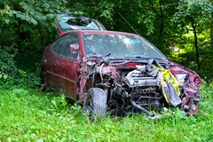 The broken abandoned car on utilization.  Stock Photography