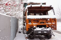Broken, abandoned truck under snow in winter royalty free stock photos