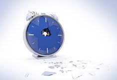 Broken Alarm Clock With Shattered Glass Stock Photo