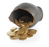 Broken amphora with coins Royalty Free Stock Photography