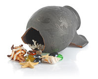 Broken amphora with seashells Royalty Free Stock Photos