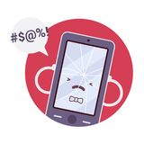 Broken angry boy smartpone. In a red circle. Cartoon vector flat-style concept illustration vector illustration