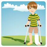 Broken Ankle. Young boy with cast broken ankle walking outdoors with crutches Royalty Free Stock Image