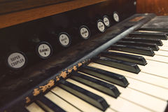 Broken antique piano Stock Photography