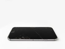 Broken Apple iPhone 6 with cracked screen. CHIANGRAI, THAILAND -SEPTEMBER 18, 2016: Close up image of broken Apple iPhone 6 with cracked screen isolate on white stock photos