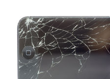 Broken Apple mobile device. stock photography