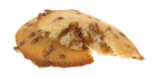 Broken apple spice muffin top on a white background Stock Photos