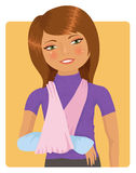 Broken arm. Cute cartoon girl with plaster and broken arm Royalty Free Stock Photography