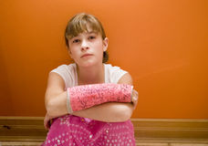 Broken Arm. Photo of Maggie in a pink cast Royalty Free Stock Photos