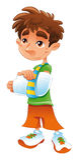 Broken arm - boy. Cartoon and vector character Stock Photo