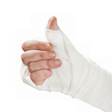 Broken arm in a cast. Fingers show the character all right Royalty Free Stock Photos