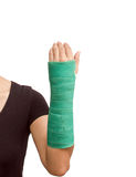 Broken arm with green cast on white background Stock Photography