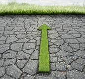 Broken Asphalt And Grass Royalty Free Stock Photo
