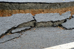 Broken asphalt road Royalty Free Stock Image