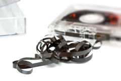 Broken audio tape Stock Photo