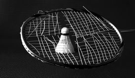 Broken badminton strings. Broken badminton racket is shown here along with one feather shuttle Broken badminton racket is shown here along with one feather Royalty Free Stock Images