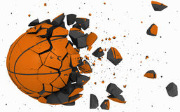 Broken ball. 3d ball broken in pieces, basketball concept Stock Photography