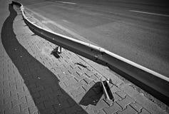 Broken barrier on the highway Stock Image