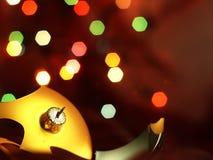 Broken bauble Christmas Tree and magic bokeh. Royalty Free Stock Photo