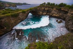 Broken beach is beautiful rock coastline in Nusa Penida island nex to Bali Stock Photo