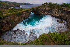 Broken beach is beautiful rock coastline in Nusa Penida island nex to Bali Stock Image