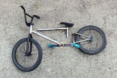The broken bicycle. The Bicycle after falling, failures Royalty Free Stock Photo