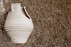 Broken big ceramic pot closeup on a grass Royalty Free Stock Photos
