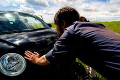 broken bil ner Arkivbild