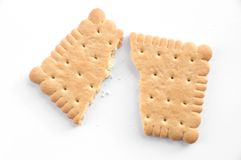 Broken Biscuit. Biscuit on white background stock photography