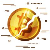 Broken bitcoin cryptocurrency on white background. Cryptocurrenc. Y falling crisis concept Stock Image