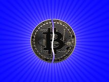 Broken Bitcoin with star. Broken Bitcoin with a spotlight behind it Royalty Free Stock Photography