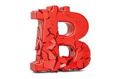 Broken Bitcoin Symbol, 3D rendering Stock Images