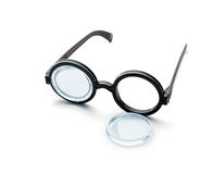 Broken black round glasses isolated on white Royalty Free Stock Image