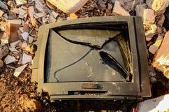 Broken Black Television Stock Photography