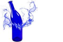 Broken blue bottle with splash isolated on white background Royalty Free Stock Images