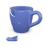Broken blue cup  on white background. 3d rendering Royalty Free Stock Photography
