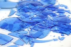 Broken blue glass 4 Stock Photos